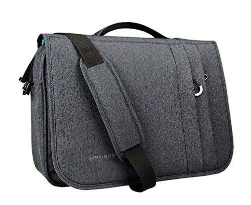 KROSER Laptop Tasche 16 Zoll Business Tasche Aktentasche Laptop Wasserabweisend Tasche Umhängetasche Erweiterbar Extra große Kapazität für Business/Schule/Reisen/Frauen/Männer-Schwarzgrau MEHRWEG