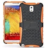 Cubix Defender Series Dual Layer Hybrid TPU + PC Kickstand Case Cover for Samsung Galaxy Note 3 N9005 - orange