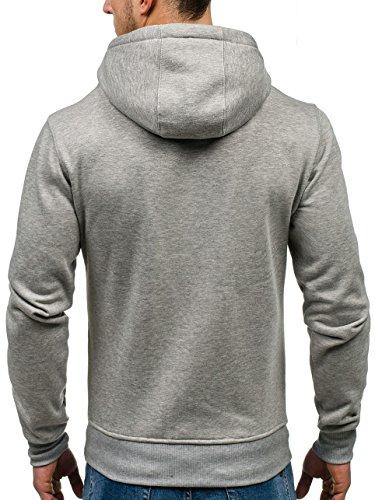 BOLF Herren Kapuzenpullover Sweatshirt Hoodie Basic Sport Style Mix 1A1 Grau-Schwarz_2072