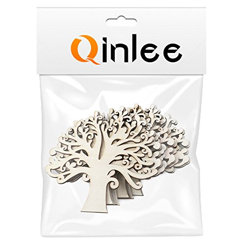 Qinlee 10 Pcs Natural Wooden Tree Shape Craft Embellishments Decoration DIY Arts Crafts Making 12.5x12.5x0.3cm