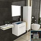 Badmöbel Set mit Waschbecken aus Mineralguss, Unterschrank mit Softclose-Funktion/ Farbe: weiß hochglanz / 50 cm Breite