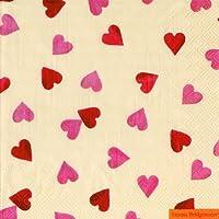 Ideal Home Range - 20 Servilletas de papel para la mesa y decoupage, 3 capas, 33 x 33 cm, multicolor con tema corazones rojos y rosas