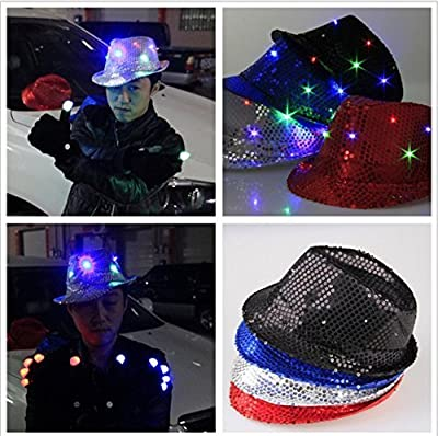 Katomi LED light flash hat hat hat jazz hat dome entertainment cheering props (Black) - cheap UK light store.