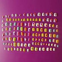 128PCS diversi chiodi 28Dimensioni volto sorridente Candy cute Carton bambini unghie finte per bambini giorno