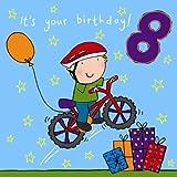 Twizler Geburtstagskarte zum 8. Geburtstag für Jungen mit Fahrrad, Geschenken und Swarovski-Kristallen,  Alter 8, Kinder-Geburtstagskarte