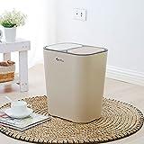 LITINGMEI Refuse Bin litingmei Abfalleimer Küche Trash Drücken Können Creative Wohnzimmer Home Doppel-Abdeckung rechteckig Junk Box Beige