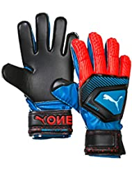 PUMA One Protect 3 JR Guantes De Portero, Unisex Adulto, Azul (Bleu Azur/Red Blast Black), 5