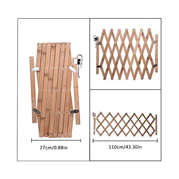 Pet Expanding Wooden Fence Gate,Retractable Dog Screen Sliding Door Gates Doorways Freestanding Portable Dog Cat Gate Safety for Home Patio Garden Lawn cheerfulus-123 Pet Wooden Door Fence: The wooden fence gate allows pets to stay away from dangerous areas while providing a safe fence for play and rest Retractable Dog Gate: The length is about 60-110cm,the distance that can be stretched when used,can be shrunk when not in use Easy Installation: The wood pet fence has two screws fixed on one side, and the other side is designed as a buckle for easy access 6