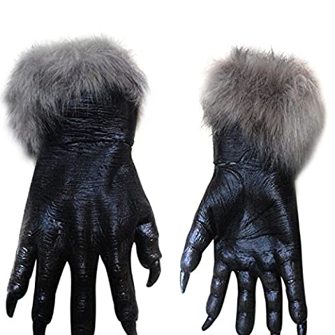 Halloween Horror Hairy Wolf Hands Claws Gloves Wolf Hände Claws Handschuhe Cosplay Karneval