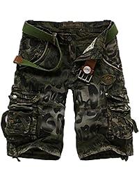 Xinwcang Cortos Pantalones Cargo Hombre Casual Suelto Chino Bermudas Corto Laboral Outdoor Deporte Patalón Shorts hasta la… QvAcmWMAaB