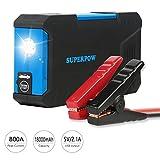Superpow 800A Batería Arrancador de Coche, 18000mAh Jump Starter Portátil con Pinzas Inteligentes,...