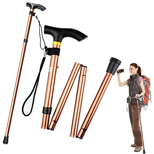2 pezzi bastone trekking,bastone passeggio pieghevole portatile in alluminio bastone passeggio antiscivolo bastone passeggio regolabile da 84-93cm leggero e durevole per anziani unisex(marrone)