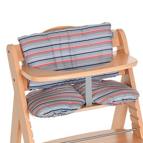 Hauck Copri Seduta per Seggiolone Pappa in Legno Hauck Alpha+ e Beta+, Copriseggiolone Multi Stripe Grey