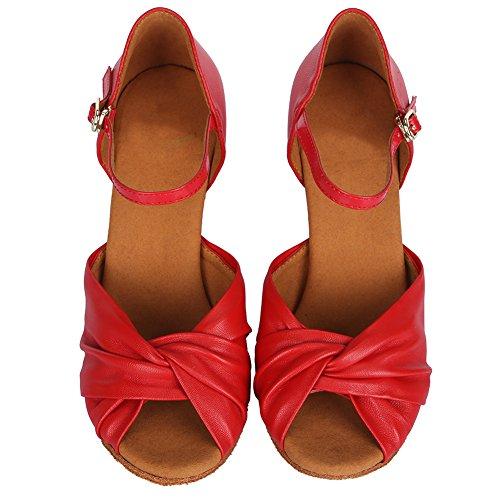 Ykxlm Femmes Et Petites Filles Satin Chaussures De Danse Latine / Standard Ballroom Shoes, Modèle-itaf810 Rouge