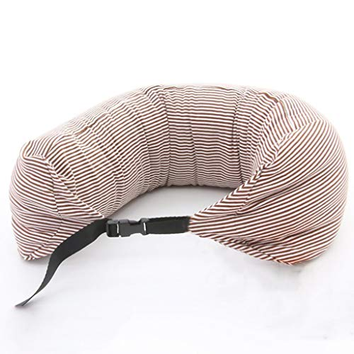 Lounayy Kissen Einfaches Reise U Förmiges Kissen Basic Mode Breathable Bequemes U Form Kissen Mit Waschbarem Abdeckungs Füllen Mit Nanoteilchen Gelbes U Weißes Streifen Muster - Basic-kissen-abdeckungen