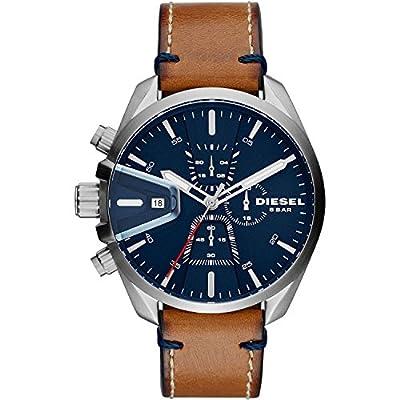 Diesel Relojes para Hombre MS9 Chrono Acero Inoxidable y Marrón Cuero Reloj