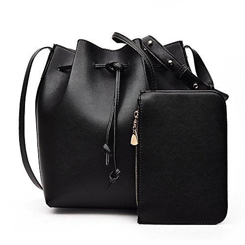 de9a4cfbf3c92 Handtaschen Damen Leder Frauen Handtasche Schultertaschen Umhängetaschen  Tasche Löffel Taschen Bucket Bags Black
