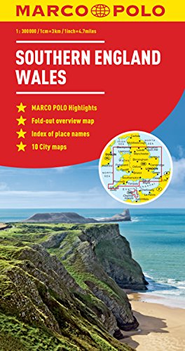 Marco Polo Southern England Wales: With Scenic Routes and Places of Interest, Fold-out Overview Map, Distance Table, Index of Place Names, City Maps London, Cardiff (Marco Polo Maps)