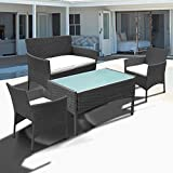 Hengda® Muebles de Jardín Mesa de Café Sillones mimbre Relax exterior Conjunto Ratán