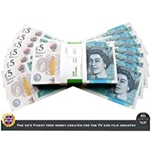 Big Screen Stacks | UK COMPANY | PROP MONEY REALISTIC UK POUNDS GBP BRITISH ENGLISH BANK 100 £5 PROP MONEY NOTES - Spare Bank Note Strap. For Movies Films Advertising Social Media Play Fake Party (5)