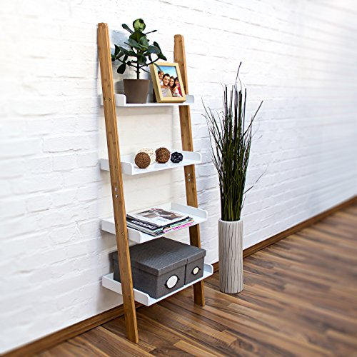 relaxdays bamboo bookcase 144 x 56 x 34 cm ladder shelf unit with 4 shelves made of bamboo wood. Black Bedroom Furniture Sets. Home Design Ideas