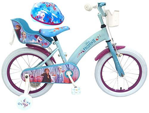Kinderfahrrad Disney Frozen II - Die Eiskönigin 2 16 Zoll | Rücktrittbremse Korb Puppensitz + Fahrradhelm Gr. 51-55 cm