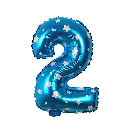 EROSPA® Luftballons Zahlen 0-9 Geburtstag Hochzeit Ziffern Folie Feier 40 cm - Blau (2)