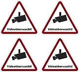Kleberio® 4 selbstklebender PVC Aufkleber Warnschild 27 x 25 mm SEHR KLEIN!! - Videoüberwachung - Piktogramm Hinweis Aufkleber