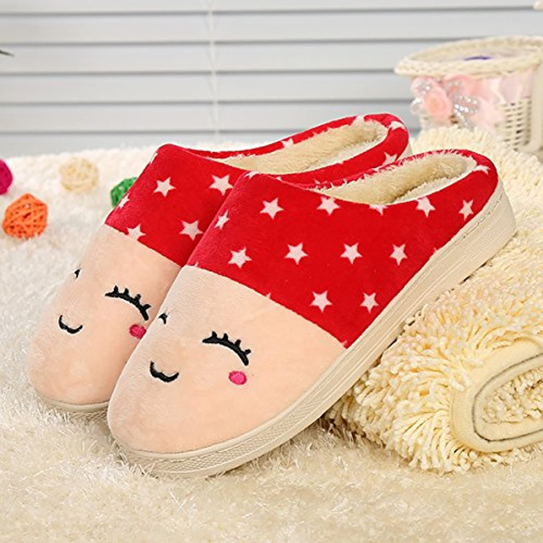 Y-Hui rostro sonriente, zapatillas de algodón, Casa amantes, zapatillas de algodón,3637,Rojo Grande