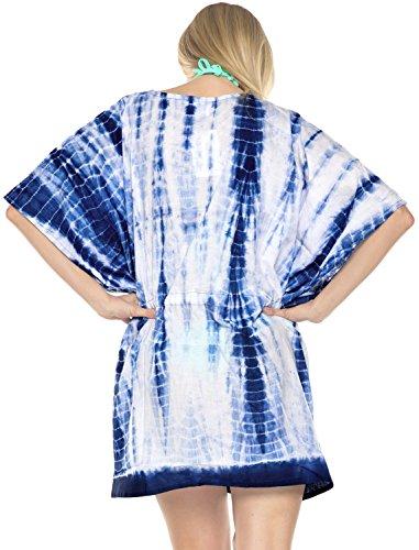 Kleid Boho Bikini Bademode Top Tunika Kaftan verschleiern Frauen Farbstoff Tunnelzugverschluss beiläufige Bluse lose Poncho binden Blau