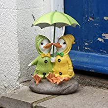 Shudehill Dilly and Dally Puddle Ducks Sitting with Umbrella Garden Ornament