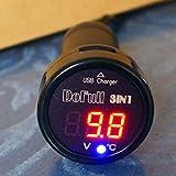 GOFORJUMP 3 in 1 Digital Voltmeter, Thermometer 12V 24V Zigarettenanzünder USB Car Charger