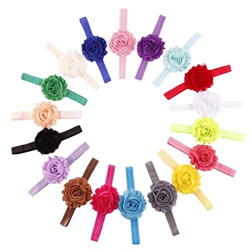 18PCS/Sets Bande de Cheveux de Bébé, Bandeau de Fleur élastique pour Bébé Fille, Bandeaux de Photographie (Circonférence de la tête: Plus de 36 cm, 18pcs/sets)