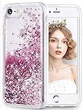 wlooo Handyhülle iPhone 8 Glitzer Hülle, iPhone 6s Hülle, Flüssig Treibsand Glitter Quicksand Transparent Silikon Weich TPU Bumper Original Schutzhülle Case für iPhone 6/6S/7/8 -Roségold