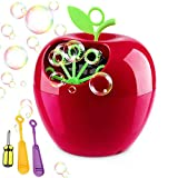 QINUKER Bubble Machine for Kids Parties, Automatic Portable Bubble Blowing Machine AA Battery Operated with High Output Bubble Blower for Weddings Outdoor or Indoor Use (apple)