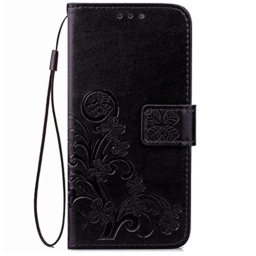 EKINHUI Case Cover Double Magnetic Back Sucktion Retro Style PU Leder Flip Stand Case mit Kickstand und Wallet Beutel Funktion für Lenovo K6 ( Color : Rose ) Black