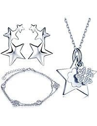 28a6835183a6 Juegos de Joyas Yumilok Jewellery 925 plata de ley circonitas estrellas  Trébol Hoja pulsera charm de