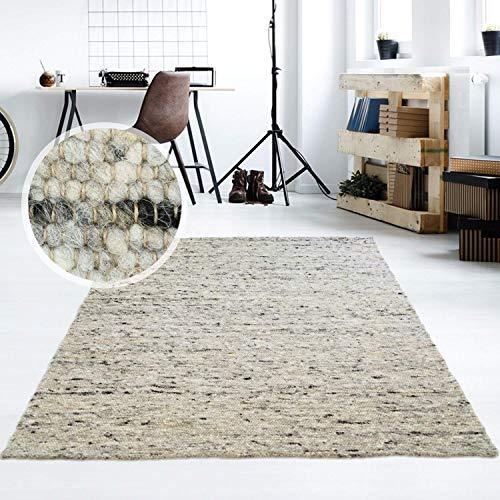 Taracarpet Moderner Handweb Teppich Alpina handgewebt aus Schurwolle für Wohnzimmer, Esszimmer, Schlafzimmer und die Küche geeignet (130 x 190 cm, 30 Grau meliert)