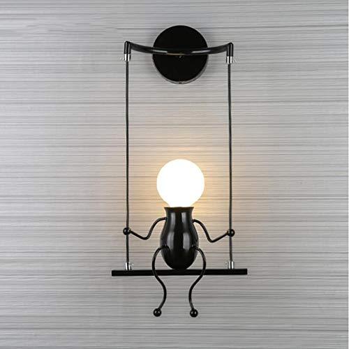 Lampe De Mur Créative De La Chambre Des Enfants, Lumières Murales Minimalistes Modernes Pour Le Salon Chambre Lampes De Chevet Allée En Fer Forgé Bras De Lumière Lampe De Suspension E27,110-240V,Black