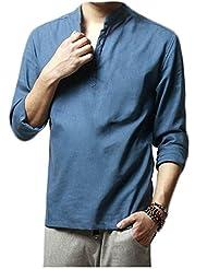 HOEREV Marque hommes occasionnels à manches longues chemises de toile de plage Chemises