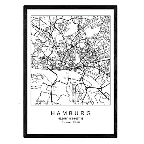 Nacnic Drucken Stadtplan Hamburg skandinavischen Stil in schwarz und weiß. A3 Größe Plakatrahmen Das Bedruckte Papier Keine 250 gr. Gemälde, Drucke und Poster für Wohnzimmer und Schlafzimmer
