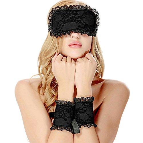 Completi intimi,Amilia Sexy Lingerie Lace Blindfold Eye Mask Giochi di Ruolo manette costume operato (Black)