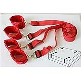 Rote Plüschgurte Schäkel weiche Handschellen Passend für die meisten Matratze in Standardgröße