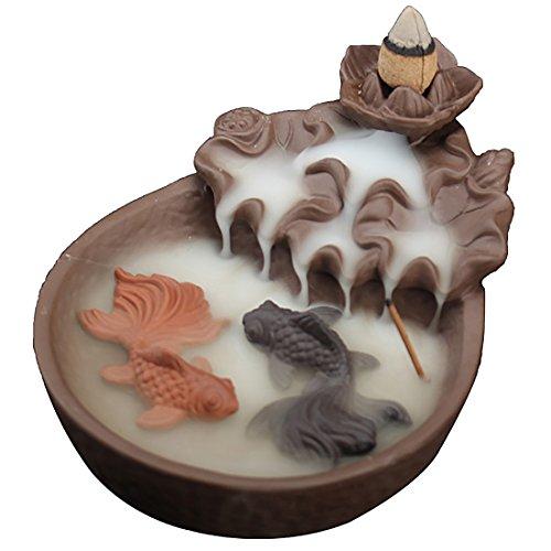 Quemador de incienso con conos de cerámica para reflujo de pescado en caja de regalo exquisita con texto en inglés Fish Lotus Pond, negro, 10,5 x 15 x 7 cm