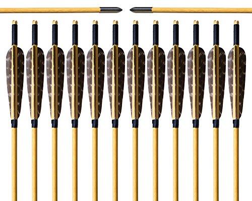 Holzpfeil Bogenschießen Pfeile Archery sharly, 31 Zoll Pfeile mit Naturfeder Jagd Pfeile mit Silber Broadheads für traditionelle Bogen, Recurvebogen und Langbogen