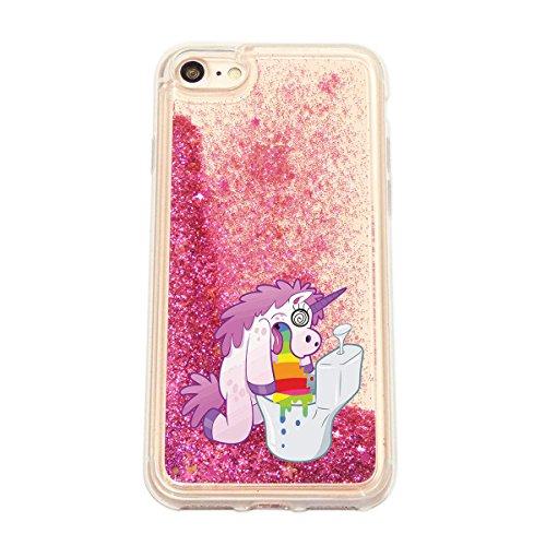 finoo | iPhone 6 / 6S Flüssige Liquid Pinke Glitzer Bling Bling Handy-Hülle | Rundum Silikon Schutz-hülle + Muster | Weicher TPU Bumper Case Cover | Einhorn Katze Einhorn Klo