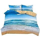 Ropa de Cama 3 Piezas King 220x240 Playa de Cielo Azul de Verano Resort Paisaje de la Naturaleza Suave y Transpirable Funda de edredón y Funda de Almohada
