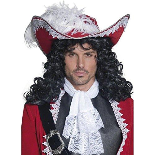 Piratenhut mit Feder Deluxe Piraten Hut Kopfbedeckung rot Freibeuter Seeräuber Musketierhut Seefahrer Musketier Kostüm Zubehör