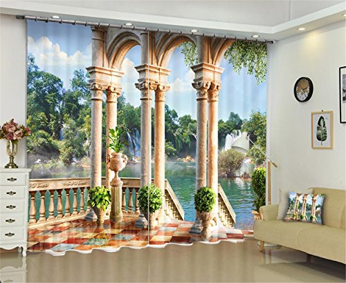 Preisvergleich Produktbild XFKL Solide thermische isolierte Verdunkelungs-Bleistift-Falten-anti Luxus 3D Architekturphotographie Verdunkelungs-Vorhänge 2 Platten für Wohnzimmer u. Schlafzimmer-freier Haken eingeschlossen , 104*95 inch