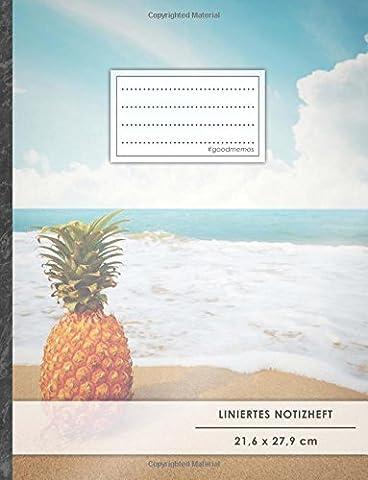 """Liniertes Notizbuch • A4-Format, 100+ Seiten, Soft Cover, Register, Mit Rand, """"Einsame Ananas"""" • Original #GoodMemos Lined Notebook • Perfekt als Deutschheft, Schulheft, Übungsheft, Lineatur 27"""